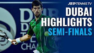 Djokovic Escapes Monfils to Set Tsitsipas Clash | Dubai 2020 Semi-Final Highlights