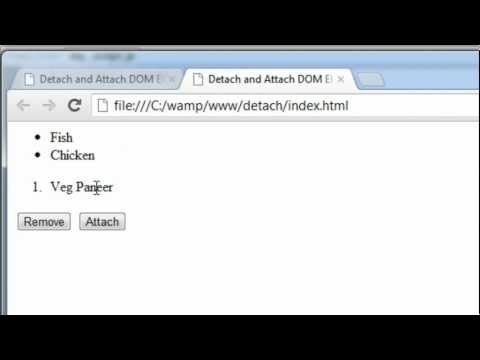 Detach and Attach DOM Elements: jQuery Array