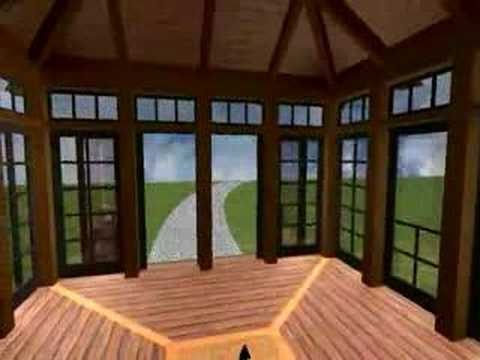 Timber Frame - Tea House / Conservatory - Yankee Barn Homes - 3D Virtual Walkthrough