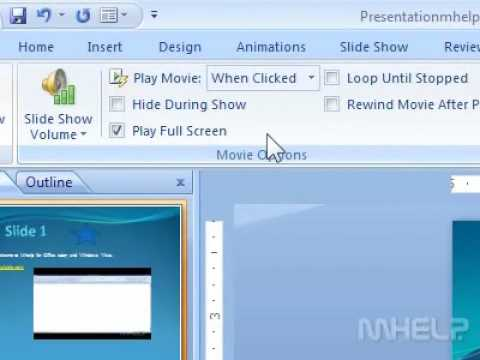 How to play a movie clip in full screen in a presentation