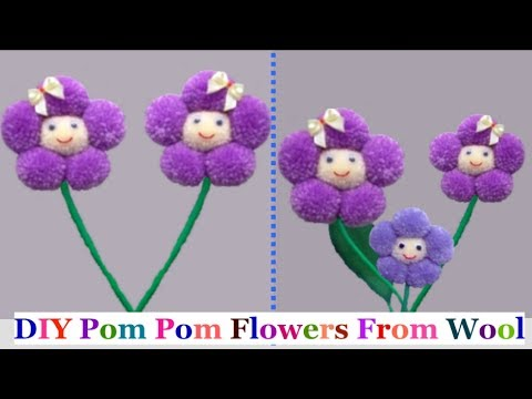 How to make easy pom pom flowers from wool at home - Easy pompom flower | DIY Yarn/wool craft idea