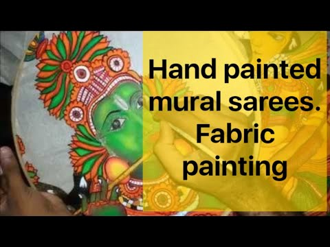 Hand painted mural sarees-fabric painting