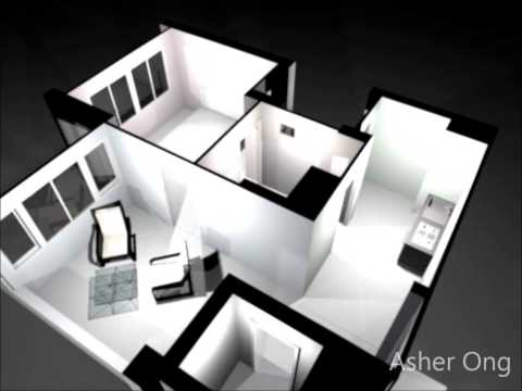 2 Room HDB Flat, 2 Room Studio Apartment, 2SA Model Floor Plan Typicial Layout 3D