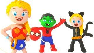 FROZEN ELSA & SUPERHERO BABIES PLAY WITH COSTUMES ❤ Hulk & Frozen Play Doh Cartoons For Kids