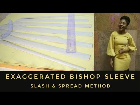 EXAGGERATED BISHOP SLEEVE PATTERN | SLASH & SPREAD METHOD | CUTTING & SEWING