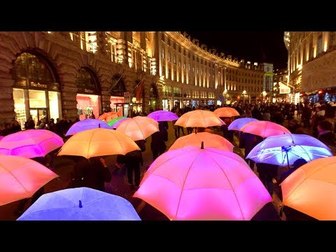 Lumiere London 2018 - ILLUMINATED UMBRELLAS in Regent Street and Piccadilly - Light Festival Walk