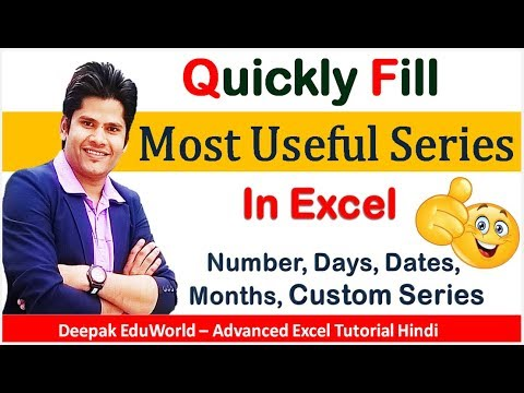 Excel Trick - Quickly Auto Fill Series of Numbers, Dates, Days, Months, Floats, in Seconds  HINDI