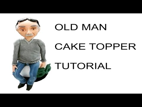Sculpting old man with fondant cake  topper - tutorial viso e corpo uomo pasta di zucchero