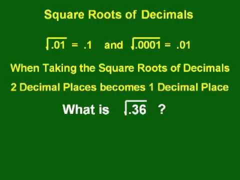 The Square Roots of Decimals