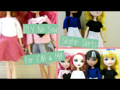 DIY No Sew Skater Skirts for Ever After High & Monster High Dolls