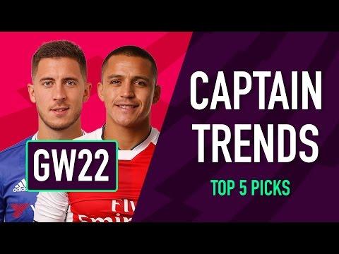 CAPTAINCY TRENDS | Gameweek 22 | Fantasy Premier League 2016/17