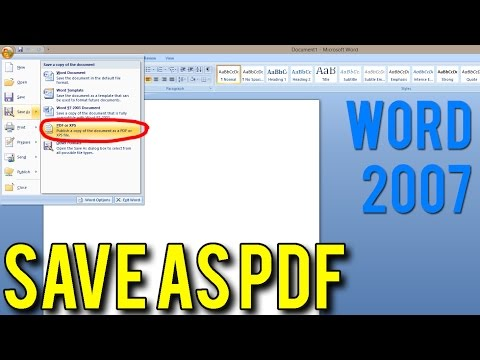How to Save As PDF using MS Word 2007