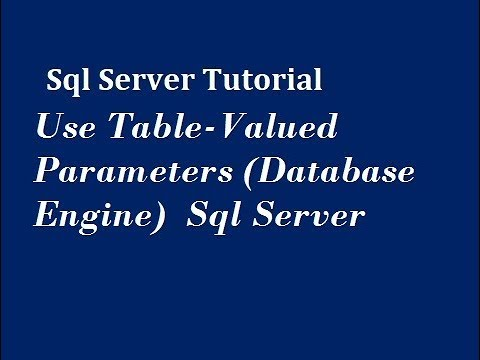 Use Table Valued Parameters in Sql Server