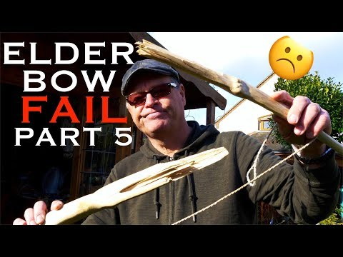 Making an Elder Bow. FAIL! Part 5. During tillering, the bow explodes.