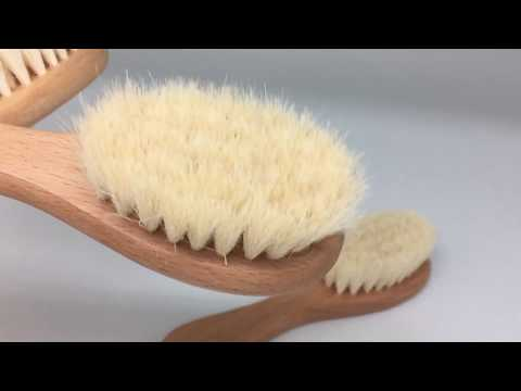 goat hair baby brush Wooden Baby Brush with Soft Goats Hair Bristles
