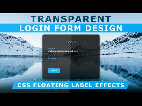 Transparent Login Form with floating Placeholder Text - Pure CSS Label Slide Up on Focus - No jQuery