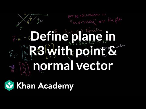 Defining a plane in R3 with a point and normal vector | Linear Algebra | Khan Academy