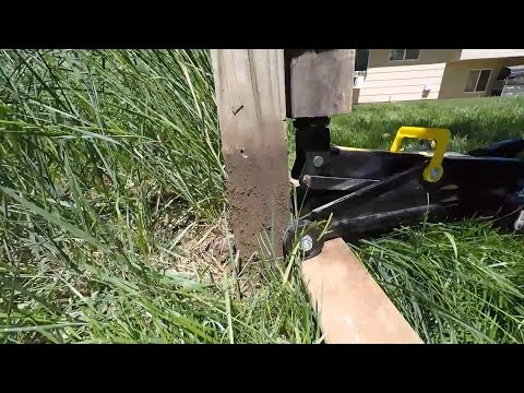 How to Remove a Wooden Fence Post with a Floor Jack