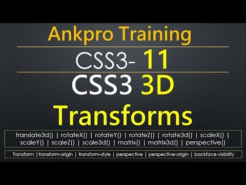 CSS3 11 - CSS3 3D Transforms | CSS3 3D Transforms Properties | CSS3 3D Transforms Methods