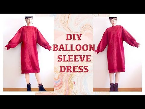 DIY Balloon Sleeve Dress // ボリュームスリーブニットワンピースの作り方 / 옷만들기ㅣmadebyaya