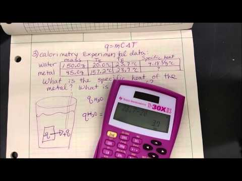Calorimetry Lab example calculation