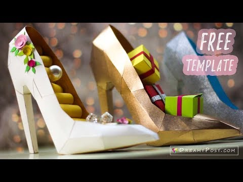 Free template: How to make paper 3D high heel shoe