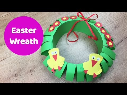 Easter paper wreath easy craft for kids