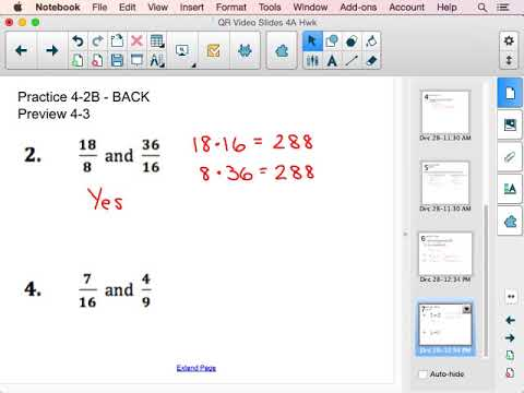 Preview 4-3 Cross Products to check if Ratios are Proportional