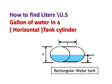 How to find Liters \U.S gallon of water in a (  Horizontal )Tank  cylinder