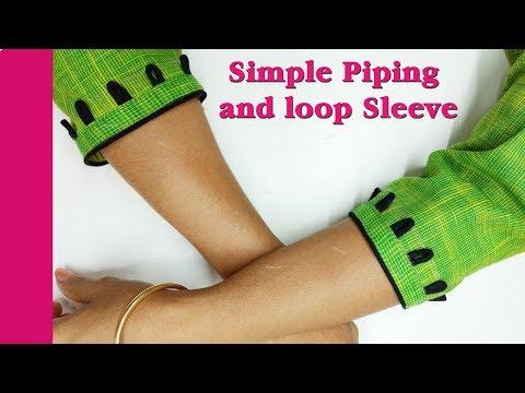 Sleeve design with piping  hindi Tutorial, Esay Method DIY