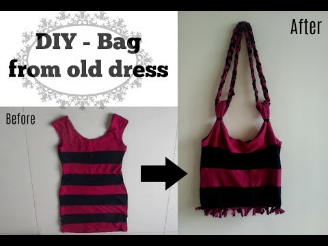DIY - Bag from old dress | Recycle old cloths | Easy step-by-step Tutorial