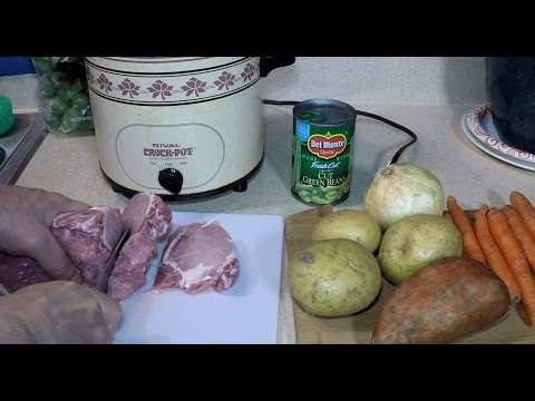 A Pork Roast Stew in a Crock Pot Slow Cooker