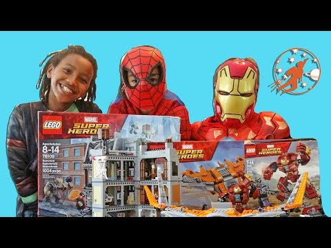 LEGO Marvel Super Heroes Avengers Infinity War Unboxing Build and Play w/ Spiderman, and Iron Man