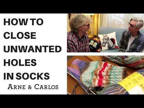 ARNE & CARLOS best tips for sock Knitting: How to close unwanted holes when knitting the heel.
