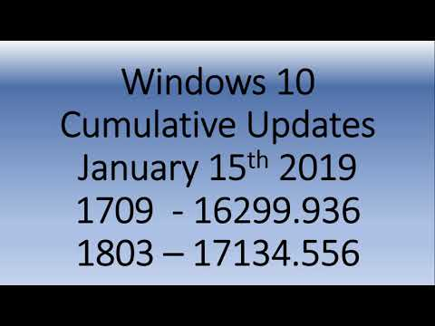Windows 10 Cumulative updates released for Bug Fixes Version 1703 1709 and 1803 January 15th 2019