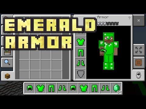 Minecraft PE - How To Get Emerald Armor! (Emerald Armor Addon!)