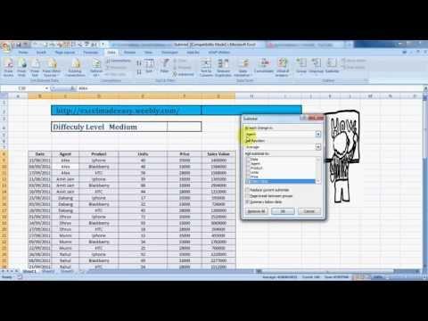 Subtotal Formula Of Excel