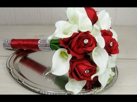 Calla Lilies And Roses Wedding Bouquet