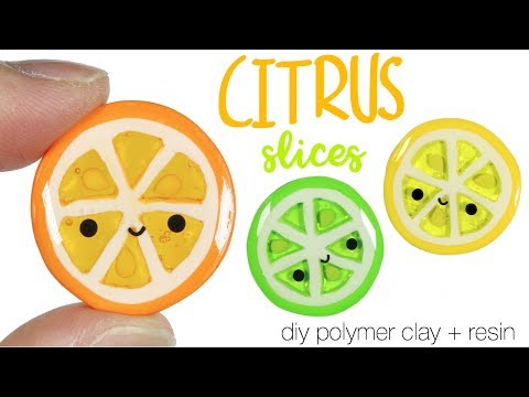 How to DIY Kawaii Citrus Slices Polymer Clay + Resin Tutorial