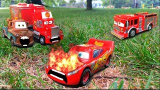 Disney Pixar Cars 3 Lightning McQueen Saved By Red Mack Hauler & Mater from Fire Toy Story for Kids!