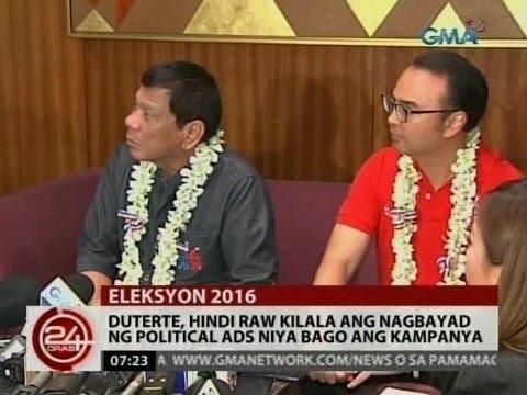 24 Oras: Duterte, hindi raw kilala ang nagbayad ng political ads niya bago ang kampanya