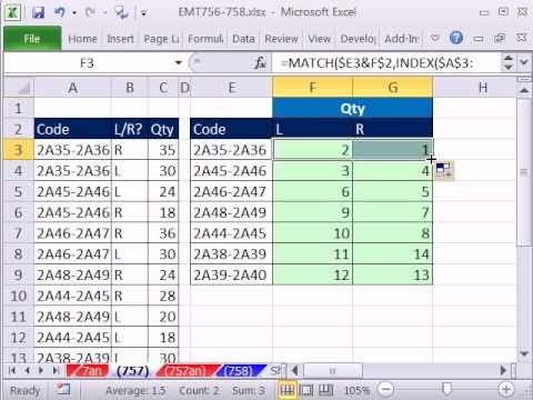 Excel Magic Trick 757: Two Lookup Values & 2 Lookup Columns? Great Formula INDEX & MATCH
