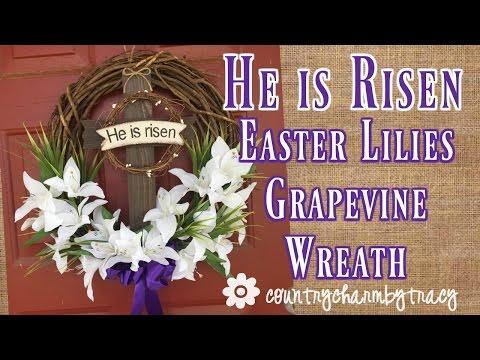 {He is Risen} Grapevine Wreath || Dollar Tree Flowers