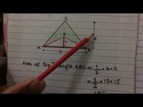 Calculate the shaded area , big triangle minus small triangle, Maths D1, Mudassar Ahmad Saeed