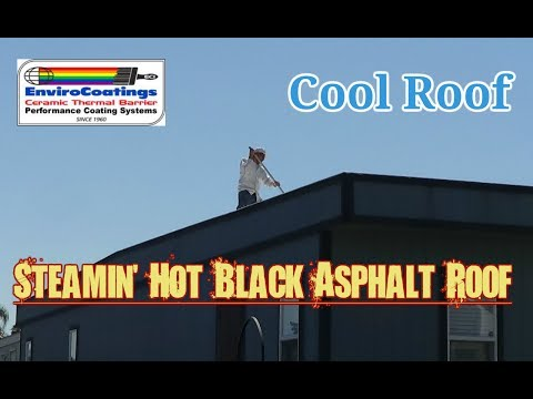 Ceramic InsulCoat Cool Roof - Mobile Office Trailer (Home) with a Steaming Hot Asphalt Roof