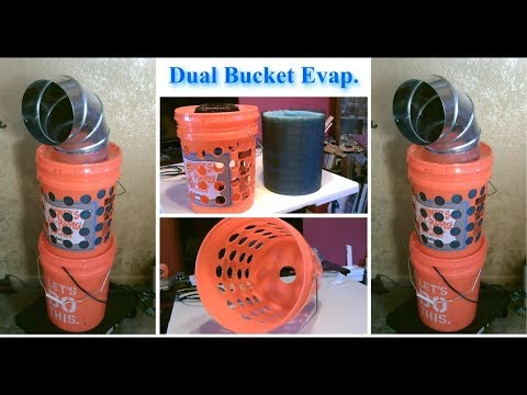 DIY Evap Air Cooler! - Dual-Bucket Evap Cooling Tower! - Awesome Air Cooler!! - can be solar powered