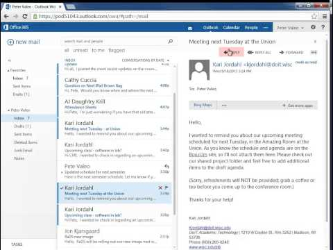 Reply To A Message: Office 365 Outlook Web App - Email