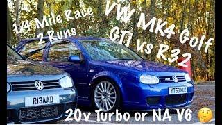 VW GOLF MK4 GTI VS R32 (GTI Stage 2 With 6 Speed - R32 Stock)