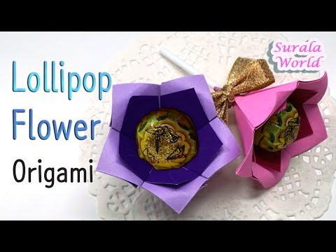 Origami - Lollipop Flower (Paper flower with candy, DIY)