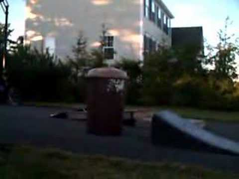 Sooter jump over trash barrel